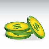 Grüne Münze mit gelber Steigung Lizenzfreies Stockbild
