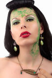Grüne Make-upmädchen-Jugendstilhalskette Stockfotos