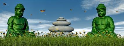 Grüne Meditation - 3D übertragen Stockbild