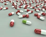 Grüne Medizinpille Stockfoto