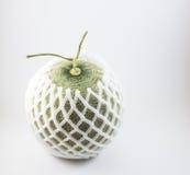 Grüne Melone mit dem Schaumnetz lokalisiert auf weißem Hintergrund Lizenzfreies Stockfoto