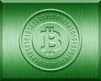 Grüne metallische Bitcoin-Platte Lizenzfreie Stockfotos