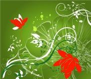 Grüne mit Blumenabstraktion Stockfotografie