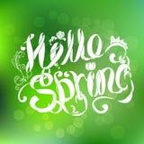Grüne mit Blumenfahne mit Beschriftungshallo Frühling auf Steigungshintergrund Lizenzfreies Stockfoto