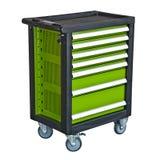 Grüne mobile Werkzeug ` s Laufkatze lokalisiert Stockfoto