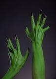 Grüne Monsterhände mit den schwarzen Nägeln, die oben, wirkliches KörperaR ausdehnen Stockfotos
