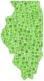 Grüne Mosaikkarte von Illinois Stockfotografie