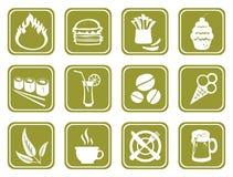 Grüne Nahrungsmittelsymbole Stockfoto