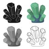 Grüne natürliche Mineralikone in der Karikaturart lokalisiert auf weißem Hintergrund Kostbare Mineralien und Juweliersymbolvorrat Lizenzfreie Stockbilder