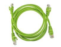 Grüne Netzkabel des twisted pair stockfoto