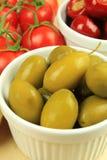 Grüne Oliven Stockbild