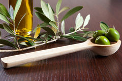Grüne Oliven und Öl Lizenzfreie Stockfotografie