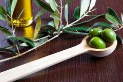 Grüne Oliven und Öl Lizenzfreie Stockbilder