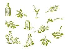 Grüne Oliven und organisches Schmieröl lizenzfreie abbildung