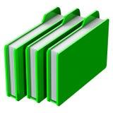 Grüne Ordner auf weißem Hintergrund Stockbild