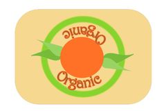 Grüne organische Aufkleberstempelillustration mit Morgensonne und -blättern stock abbildung