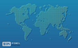 Grüne Pixelweltkarte auf blauem Hintergrund Stockfoto