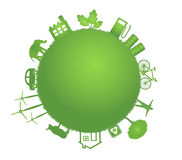 Grüne Planetenabbildung der Ökologie Stockfotografie