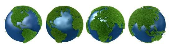 Grüne Planetencollage mit Graskontinenten Stockfoto