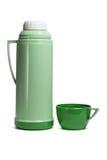 Grüne Plastikthermosflasche Lizenzfreie Stockfotos