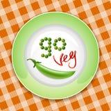 Grüne Platte mit Gemüseaufschrift Stockfoto