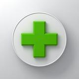 Grüne Pluszeichenzusammenfassung auf rundem Schild über weißem Wandhintergrund mit Schatten Stockfoto