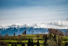 Grüne Rasen und schneebedeckte Berge Stockfotos