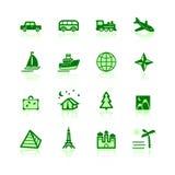 Grüne Reisenikonen Stockfoto