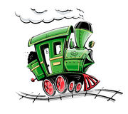 Grüne Retro Karikaturlokomotive Stockbild
