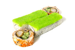 Grüne Rolle mit Krabbe und Avocado auf einem weißen Hintergrund lokalisiert Lizenzfreies Stockfoto