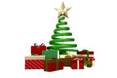 Grüne Rot- und Goldweihnachtsgeschenke Stockfoto