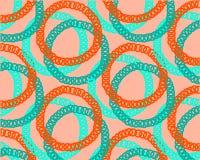 Grüne rote Ringe auf orange geometrischem Musterhintergrund lizenzfreie abbildung
