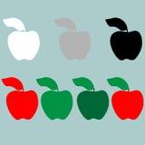 Grüne rote schwarze Apfelikone des grauen Weiß lizenzfreie abbildung