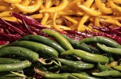 Grüne rote und gelbe heiße Paprikas Stockbild