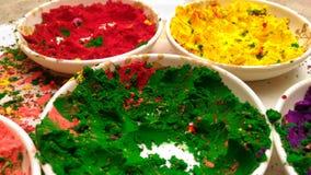 Grüne rote und gelbe Pulverfarbe Stockbild