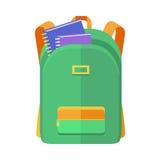 Grüne Rucksack-Schultaschen-Ikone mit Notizbüchern vektor abbildung