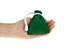 Grüne Samttasche mit der Hand stockbild