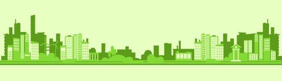 Grüne Schattenbild Eco-Stadt-flacher Vektor Lizenzfreie Stockbilder