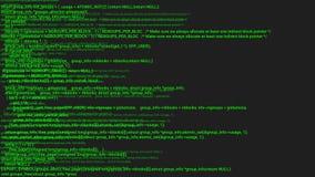 Grüne Schirmkodierungshacker-Konzeptanimation mit Störschub Tippfehler des Programmiercodes lizenzfreie abbildung