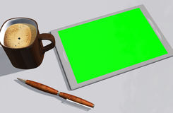 Grüne Schirmtablet-pc-Kreditkarte und -Tasse Kaffee Stockbild