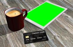 Grüne Schirmtablet-pc-Kreditkarte und -Tasse Kaffee Lizenzfreies Stockbild