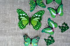 Grüne Schmetterlinge dekorativ stockbilder