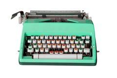 Grüne schmutzige Retro- Schreibmaschine mit dem Beschneidungspfad lokalisiert auf Whit Stockbilder