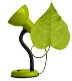 Grüne Schreibtischlampe mit Blatt Lizenzfreies Stockfoto