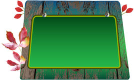 Grüne Schulbehörde auf hölzernem Hintergrund mit autum vektor abbildung