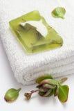 Grüne Seife auf weißem Tuch Stockbilder