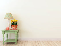 Grüne Seitentabelle mit dem Dekor im Innenraum Stockbilder