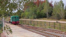 Grüne sich fortbewegende Fahrten durch Schiene Sich fortbewegende Standorte auf Forest Railway stock video