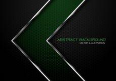Grüne silberne Linie Pfeil der Zusammenfassung auf modernem futuristischem Hintergrundluxusvektor des dunkelgrauen Hexagonmaschen stock abbildung