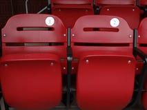 Grüne Sitze des Stadions stockfoto